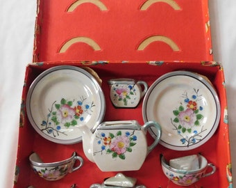 vintage Child's Toy Tea Set in box Luster ware Japan