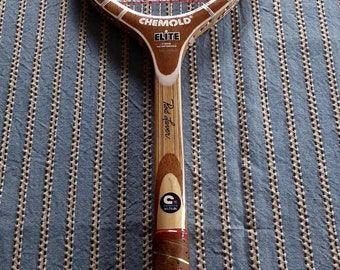 Vintage Chemold Rod Laver Autograph Elite Wood Tennis Racquet  Leather Grip Excellent Condition  4 1/2 Medium