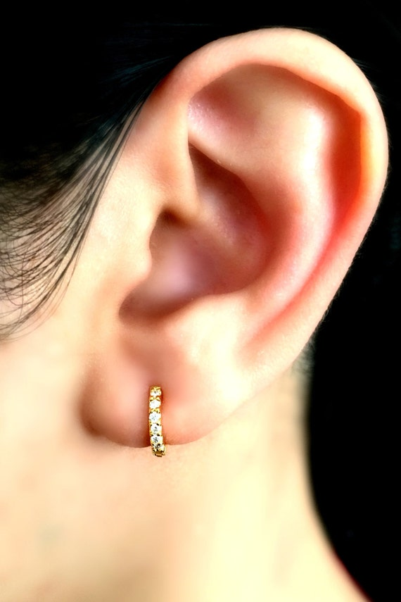 Wicked solar burst diamond hoop earring small gold hoop