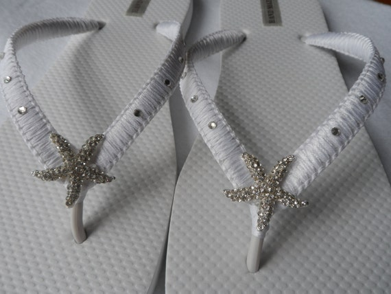 Flip Bridal Wedding Flops Sandals Macrame Flip Bridal Starfish White Flops Bridesmaids Rinestone Shoes f6F5qFx