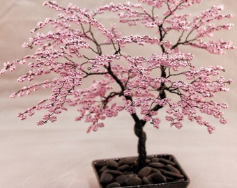 Pink Beaded Bonsai Wire Tree Sculpture