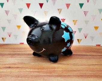 Star Piggy Bank, Black Piggy Bank, Piggy Bank, Bank, Baby Bank, Baby Shower Gift, Customized Piggy Bank, Blue Piggy Bank, Star Bank
