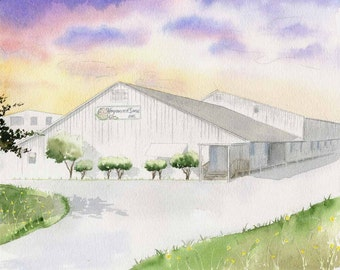 Custom Business Watercolor - Custom home painting - Painting of Business - Commissioned Watercolor