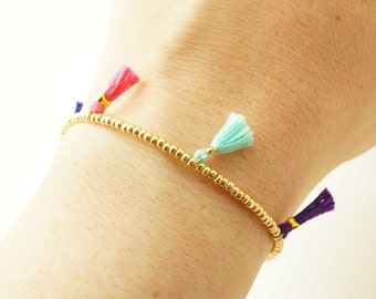 Tassel Gold Beaded Bracelet - Friendship Bracelet w/ 5 Tassels - Colorful Tassel Bracelet - Gold Mint Pink Cobalt Blue Coral Purple