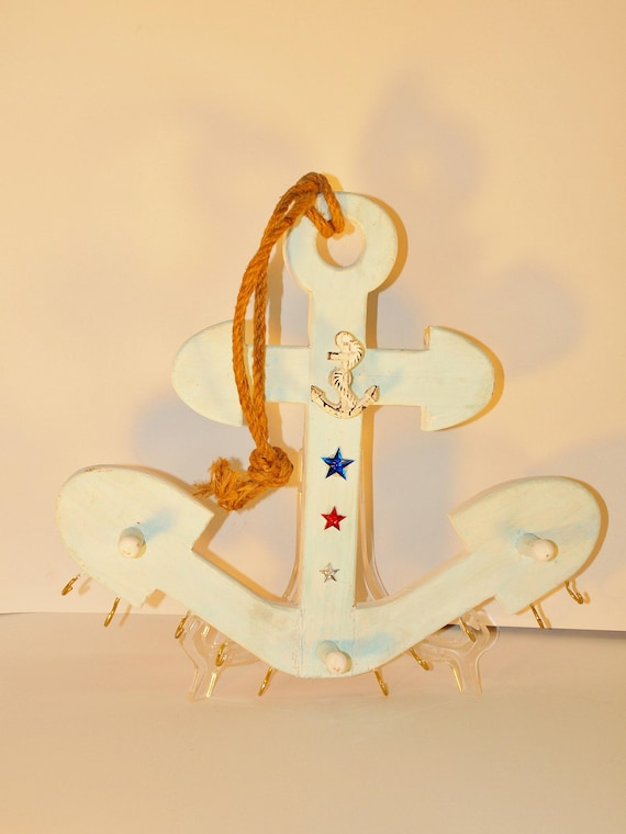 Anchor Necklace and Jewelry Holder with Nautical Theme