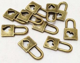 30pcs Antique Bronze Mini Lock with Heart Charm Pendants for Bracelet 8x15mm B509-2