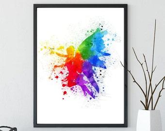 Angel Watercolor Wall Art Print, Printable Children's Room Decor, Nursery Decor Instant Digital Download Rainbow