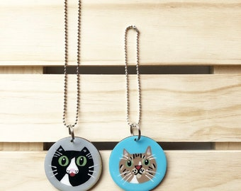 Cat Charm, Custom Cat Charms, Personalized Cat Gift, Custom Cat Art, Cat Car Charm Hanger, Cat Rearview Mirror Ornament, Cat Lover Gift