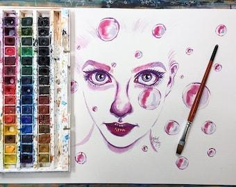 Watercolour Abstract Bubble Portrait on A3 300gsm Watercolour Paper