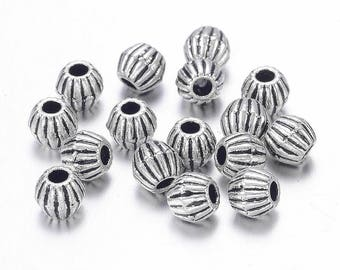 Antique Silver Striped Bicone Spacer Beads 4mm x 4.5mm (B250c/402b)