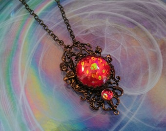 Victorian Necklace, Handmade Glass Opal Opalite Red Spotted, Filigree Fantasy Necklace, Renaissance Necklace, Color-Shift