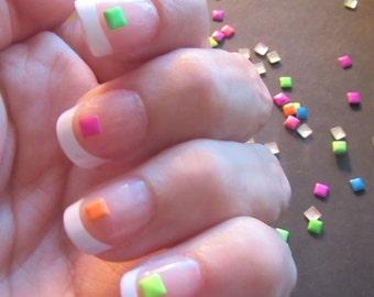 3mm neon square nail studs, nail art, 3D nail design, diy nails, nail deoration