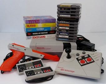 Ultimate Vintage NES Nintendo System Bundle:Console/2 Controllers/Zapper/NES Advantage/18 Games