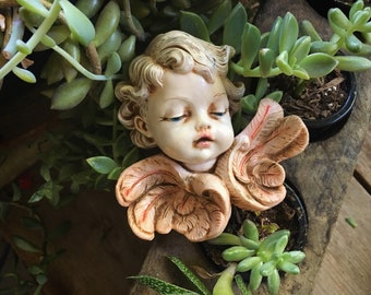 Small Angel Wall Hanging Made in Italy Religious Folk Art, Home Altar Cherub with Wings