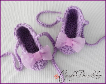 Light purple ballet  slippers for baby girls, Lavender slippers, Lilac Cute Baby Slippers, Crochet slippers with organdy bow, Baby gift