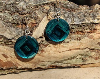 Blue Alcohol Ink Hand Painted Earrings