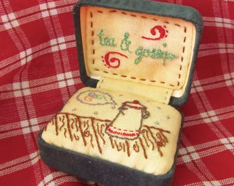 Altered Art Jewelry Box - Tea and Gossip - Embroidery