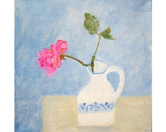 Original flower painting, 'January Rose', small still life, acrylic on canvas ready to hang.