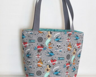Large Knitting or Crochet Project Bag. Knitting Tattoos Canvas Tote Bag with Pockets.