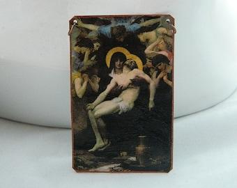 Art necklace Art jewelry Religious art Piety William Adolphe Bouguereau