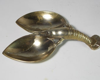 Vintage Brass Lobster Claw Pod Holder