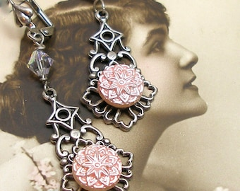Vintage BUTTON earrings, 1940s pink stars on silver. Button jewellery. Present, gift.
