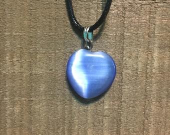 Blue Catseye Heart Pendant Necklace / Blue Heart / Heart Pendant / Catseye Heart / Heart