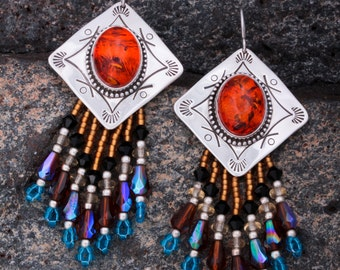 Beaded Sterling Silver Earrings with Amber
