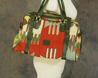 vintage 80s Kilim Duffel Bag - Large Kilim Tote Tapestry and Leather Bag Boho Carpet Bag Overnight Bag