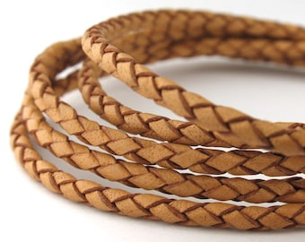 LBOLO0325601) 0.75 meter of 2.5mm Natural Genuine Braided Bolo Leather Cord.