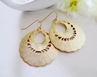 Gold Chandelier Earrings, Gold Hoop Earrings, Bohemian, Large Hoops, Gold Round Pendant, Moroccan, Redpeonycreations