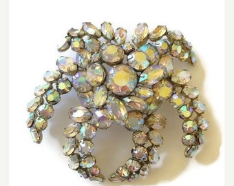 June 30% off Sale Spectacular Sherman Aurora Borealis Brooch for the Bridal Season