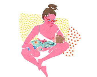 Archival Art Print - Breastfeeding Art, Motherhood Art, Body Positive, Collage, Mother Gift , Mother's Day Gift