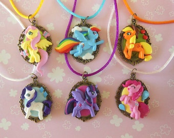 My Little Pony Necklace - Twilight Sparkle - Rarity - Rainbow Dash - Fluttershy - Applejack - Pinkie Pie - Polymer Clay Jewelry