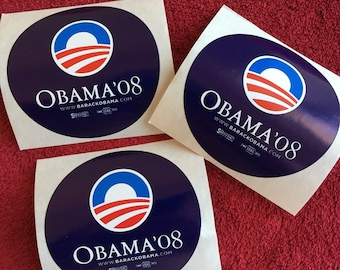 3 (THREE) President Barack Obama : 2008 Campaign Stickers