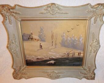 Original Mid Century Oil Painting:Winter Scene