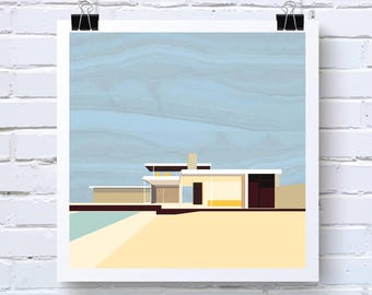 """12"""" Poster of The Kaufman House in Palm Springs - Mid-Century Modern Architecture in Blue and Yellow - Original Artwork"""
