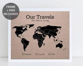 Our Travels World Pushpin Map • Personalised Travel Map • World Map Wall Art • Wedding Gift • Fabric Pushpin Map • Custom Framed World Map