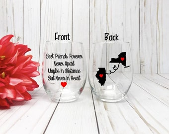Best Friends Wine Glass, Best friend Gift, Long Distance Best Friend, Best Friend Birthday Gift, Best Friend Long Distance,