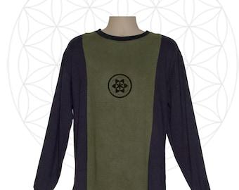 Organic Clothing - Hemp Shirt - Custom made Organic Cotton and Hemp Shirt - Sacred Geometry Print - Custom made, hand dyed, printed