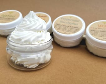 Natural Body Moisturizer, Six Pack Lotion, Whipped Body Cream, Lightly Scented Lotion, Moisturizing Body Lotion, 2 oz, 4 oz