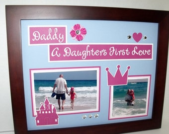 11x14 Father Daughter Picture Frame - Daddy a Daughter's First Love - Princess Theme - Frame Included - Choose color scheme and frame color