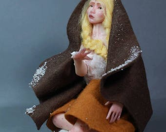 Girl with Matches, fantasy sculpture OOAK Doll collectible IADR One in a Kind fairy fairytale winter figurine