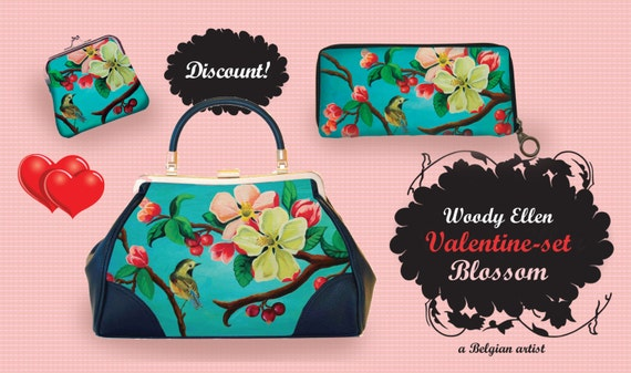 Retro handbag Set, vintage handbag set,Blossom, christmas,gifts,gifts for her,Woody Ellen handbag,christmas gifts,christmas gift ideas