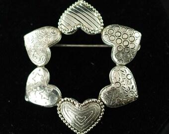 Vintage Danecraft Heart Motif Brooch Pin