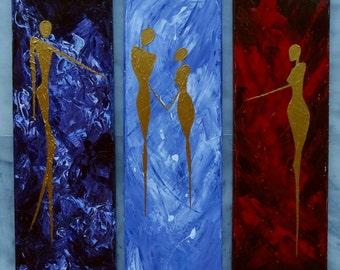 Modern Multi Panel Art Painting Original Wall Acrylic Abstract Decor Art Contemporary Canvas