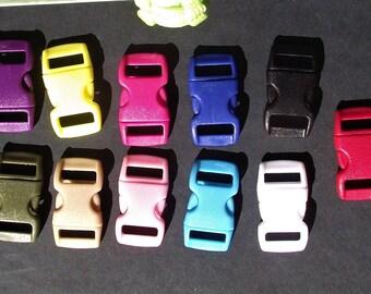 BUCKLES,SNAPS,CLOSURES,Parachute Cord Bracelet Buckes,10 pc Buckles Set,Plastic Snap Buckes,Multicolor,15mm Buckles,Survival Bracelet