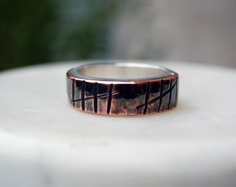 TALLY ANNIVERSARY RING - Unique Tally Mark Ring  - 8mm Width - Silver & Copper Mixed Metal Ring - Personalized Ring - For Men and Women