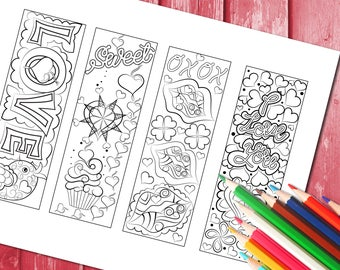 Love colouring book marks- digital download to print and colour- laminate