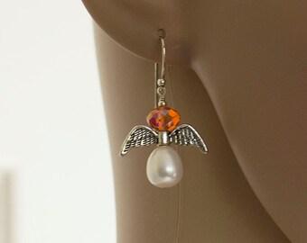 Angel Earrings, White Pearl Drops Pearl Earrings, Silver Swarovski Crystal Drops, Dangle Earrings, Handmade Earrings, Dainty Jewelry